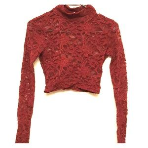 Dark red lace crop top